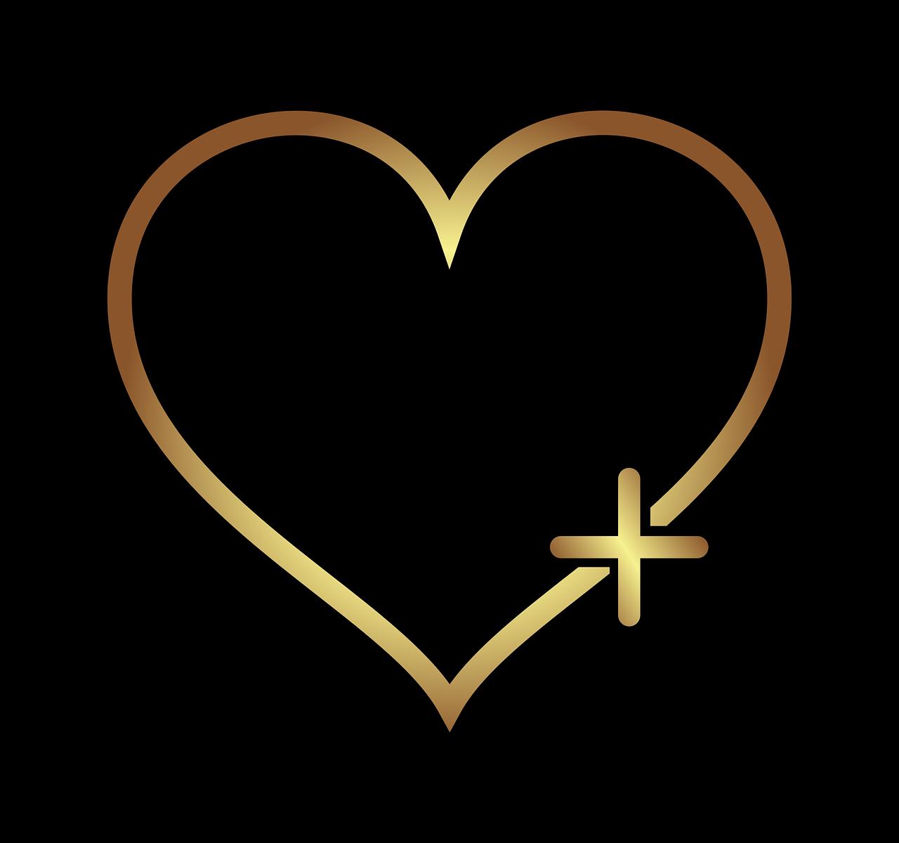 Goldenes Herz auf schwarzen Hintergrund mit plus-Zeichen auf rechts unten
