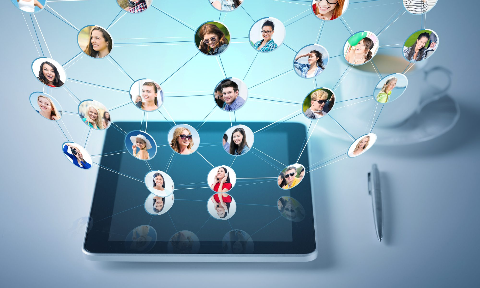 Virtuelle Kontakte auf dem Tablet