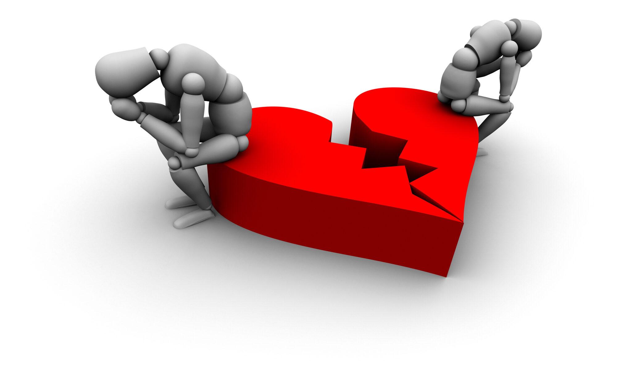 Zwei Figuren sitzen auf einem gebrochenen Herz